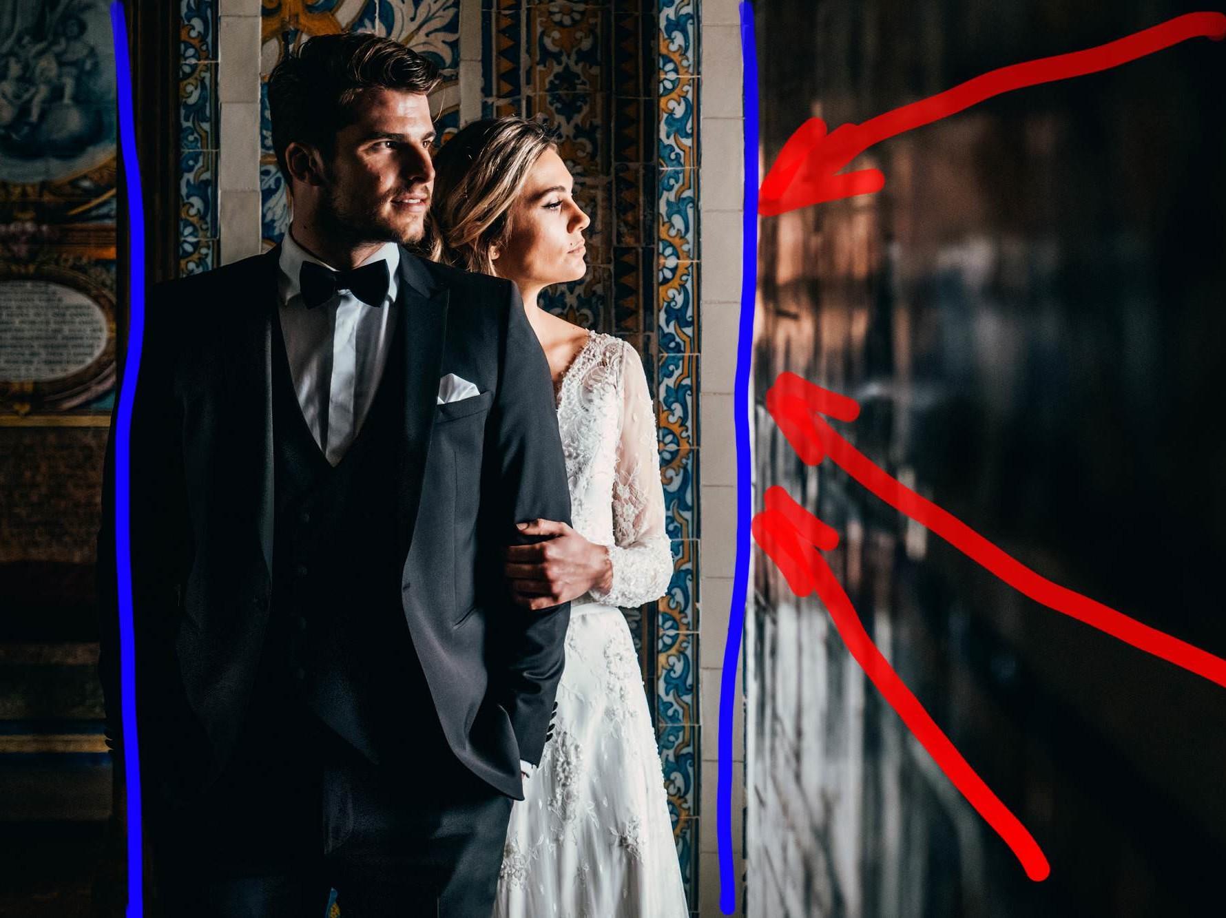 Линии и рамки в свадебной фотографии